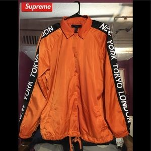 Orange windbreaker jacket